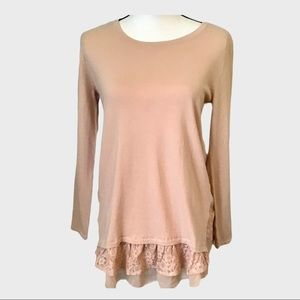 Style &Co Blush colored Lace Bottom Sweater